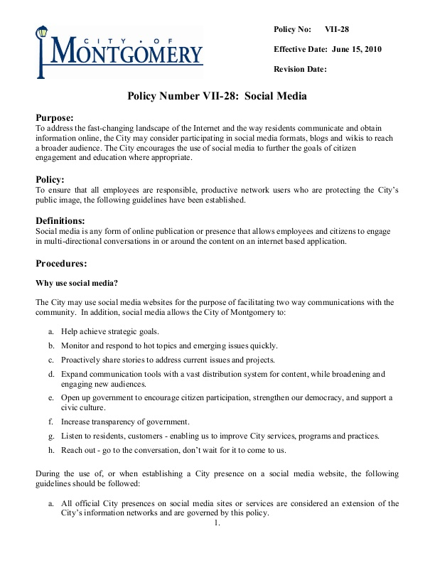 Montgomery, Ohio Social Media Policy icmaorg