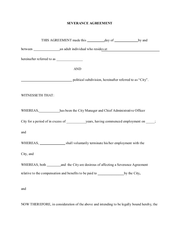 Sample Severance Agreement A Few Key Thoughts Employee Severance   Sample  Severance Agreement