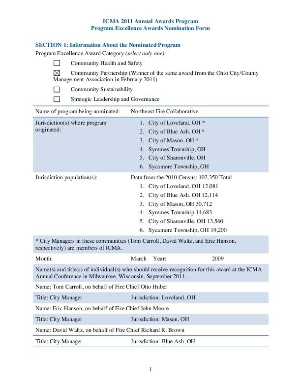 Ohio Northeast Fire Collaborative icmaorg - fire service application form