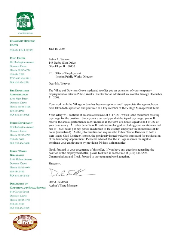 Interim Offer Letter, Public Works Director icmaorg