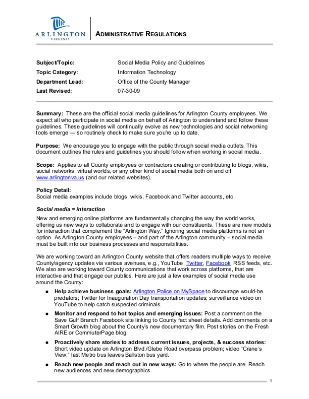 Arlington County Social Media Policy and Guidelines icmaorg