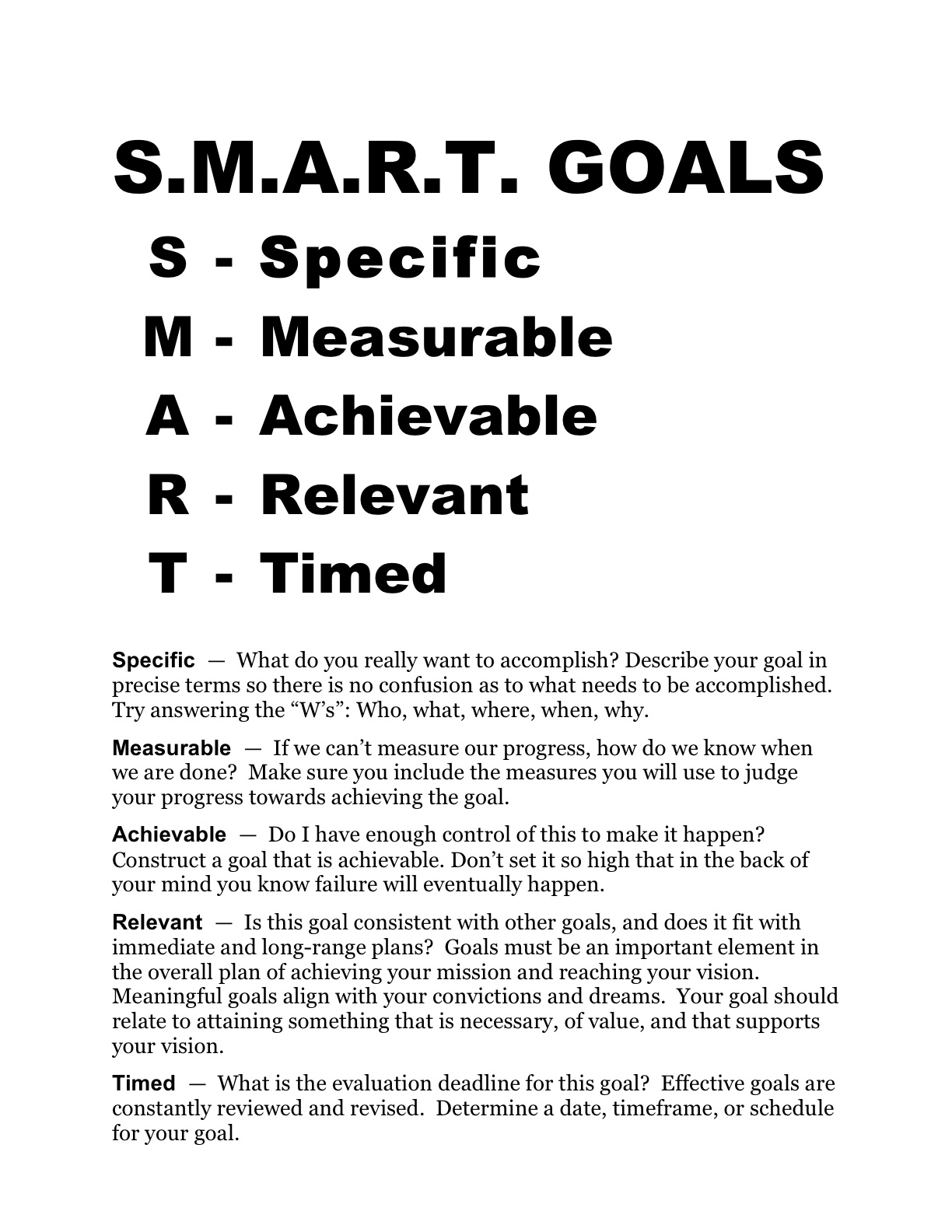 Smart Goals Worksheet Template | Professional Cover Letter Example