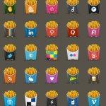 Icônes sociales frites gratuites