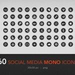 60 social media mono icones