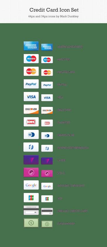 Icones cartes de crédit