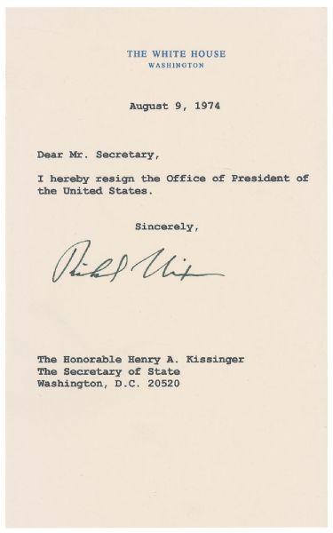 Lot Detail - Richard Nixon Signed Souvenir Presidential Resignation