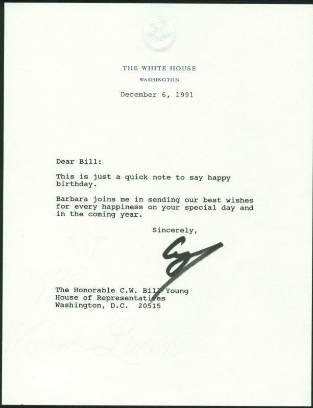 Lot Detail - President George HW Bush Signed 1991 Letter on White