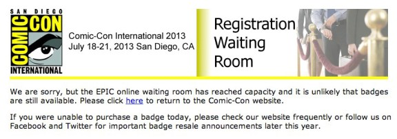 "The EPIC Registration ""waiting room"" page received at 9:06am PST"