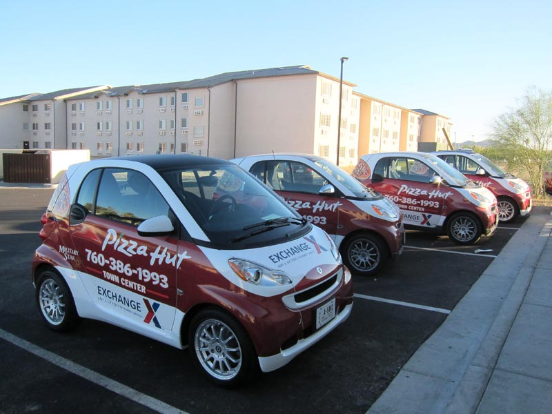 Smart Living Pizza Hut Smart Car Wraps By Iconography | Barstow, Ca