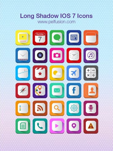 Long Shadow iOS7 Icons