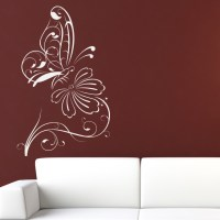 Butterfly on Flower Outline Floral Wall Decal Wall ...