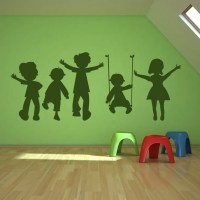 Children Playing Swing Kids Wall Art Sticker Wall Decal ...