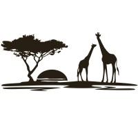 Giraffe Scenery Sun Set Wall Art Sticker Wall Decals ...