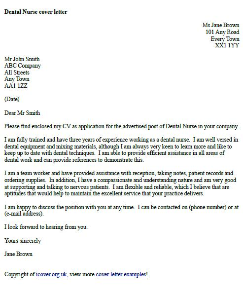 Dental Nurse Cover Letter Example - icoverorguk