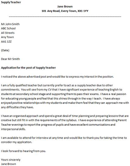 Cover Letter for a Supply Teacher Job - icoverorguk - teacher cover letters