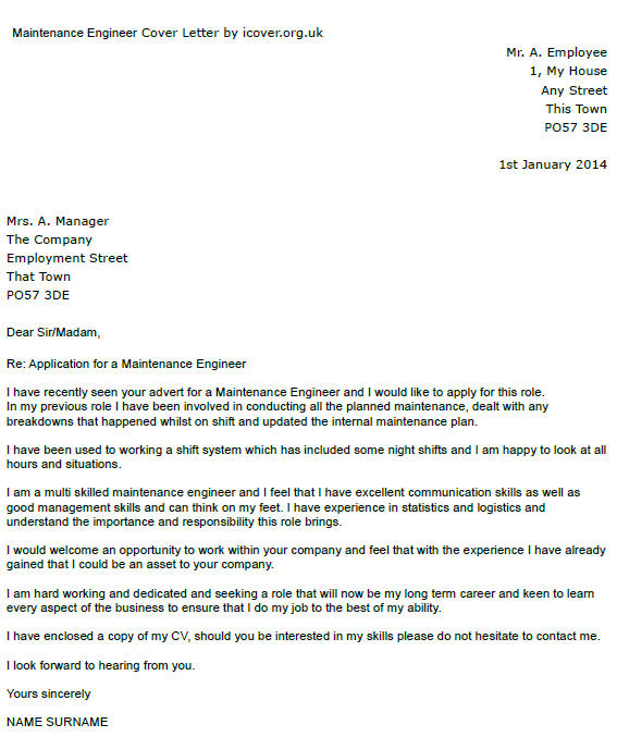 maintenance engineer cover letter example icover org uk. Resume Example. Resume CV Cover Letter