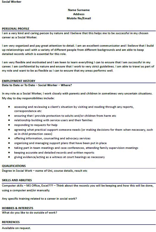 example social work resume