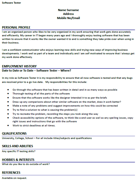 Cv Example Uk Hobbies Article Making Your Cv Stand Out With Your Hobbies Software Tester Cv Example Icoverorguk