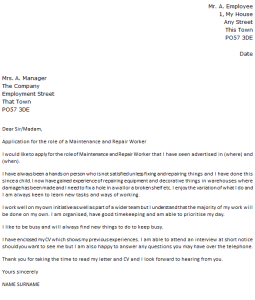 maintenance and repair worker cover letter example