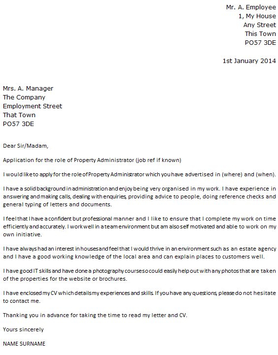 cover letter sample to employment agency create a cover letter in english englishlink property administrator cover