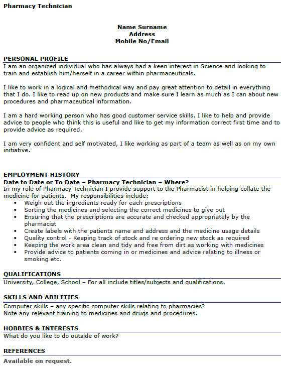 Sample Cv For Pharmacy Dispenser | Professional resumes sample online