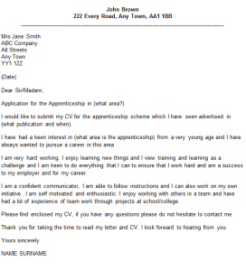 apprenticeship cover letter example