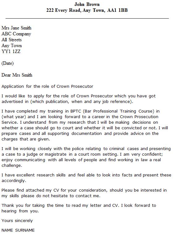 Public Interest Legal Cover Letter