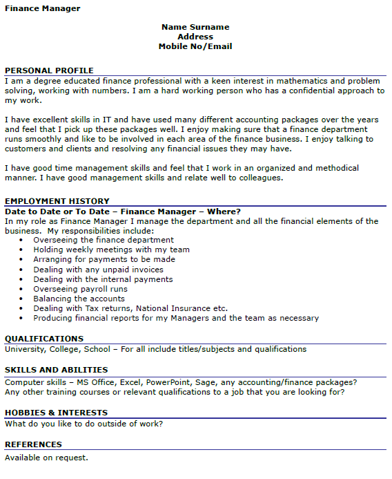 personal statement for accounting and finance cv Looking for accounting and finance cvs find graded accounting and finance cv templates from the livecareer cv example directory great place to start your job search.