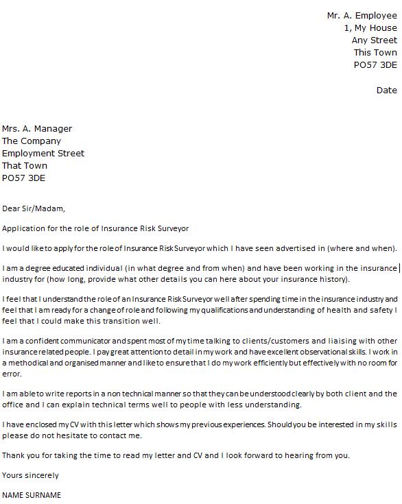 insurance cover letter