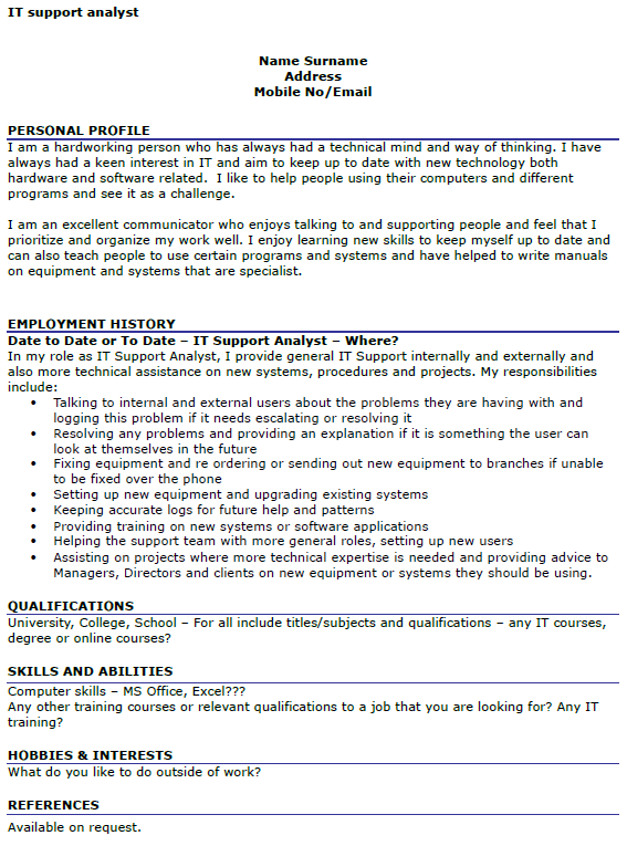 it support analyst cv example