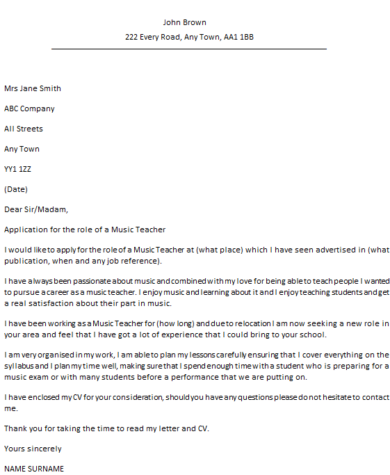 music teacher cover letter example