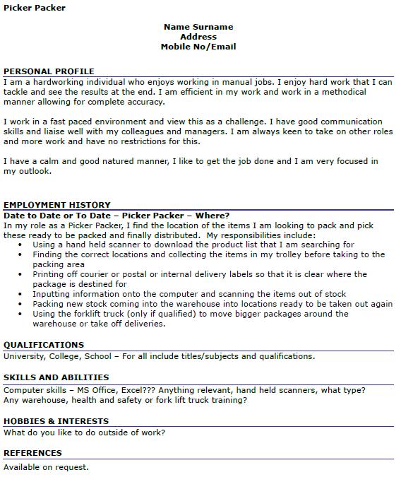 sle resume for warehouse picker packer picker packer cv
