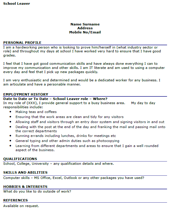 School leaver resume examples