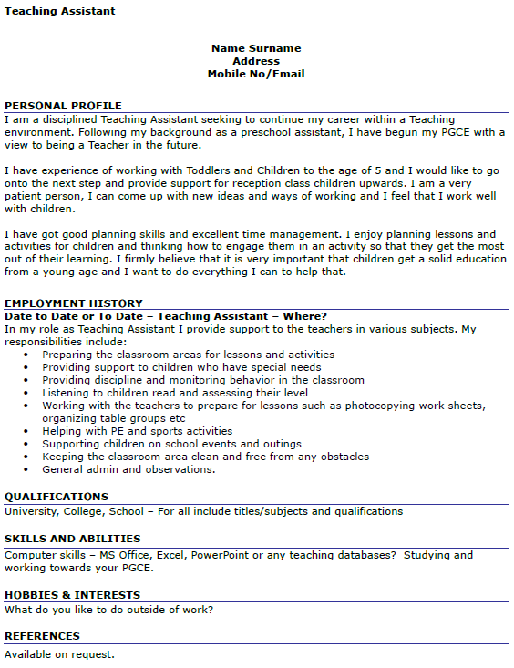cv teaching sample teacher resume middle school pinterest cv in ...
