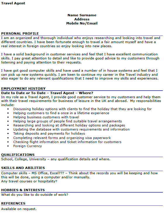 Cover Letter Template For Agency Travel Agent CV Example