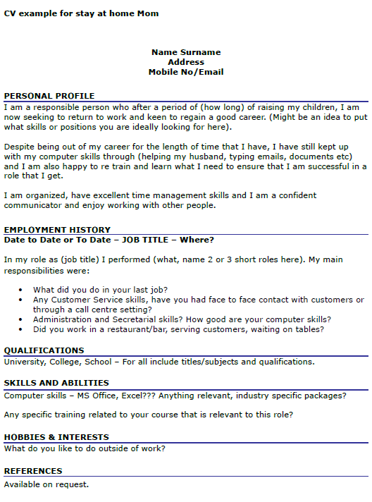 stay at home mom going back to work resume example