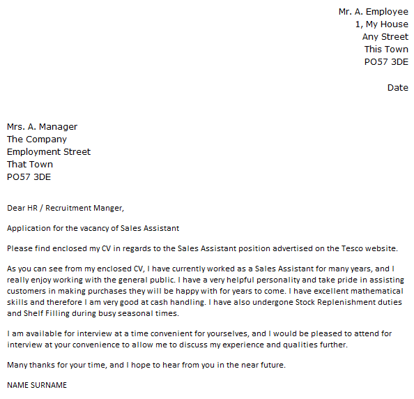 covering letter for sales assistant