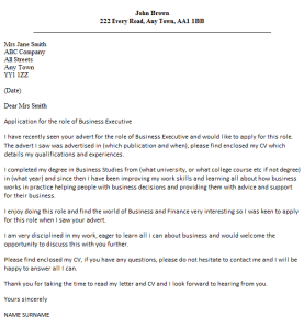 business executive cover letter example