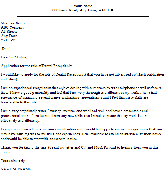Dental Receptionist Cover Letter Example Icover Org Uk