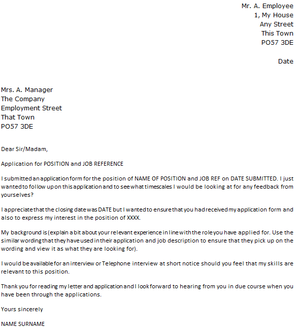 Follow up letter to a job application for Cover letter looking forward to hearing from you