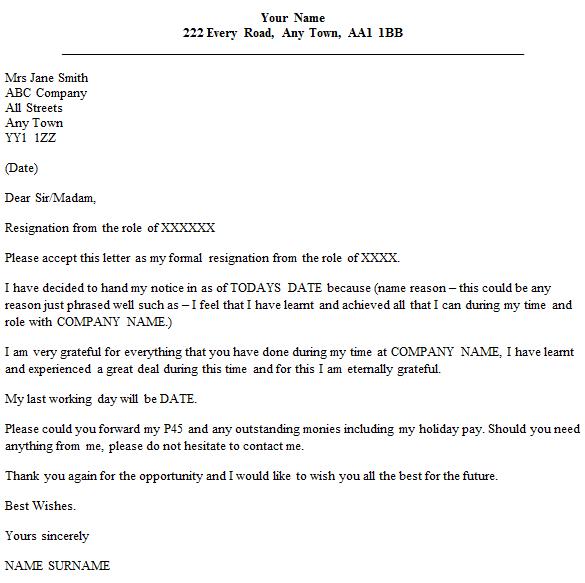 Formal Resignation Letter Uk Template 32lb Resume Paper