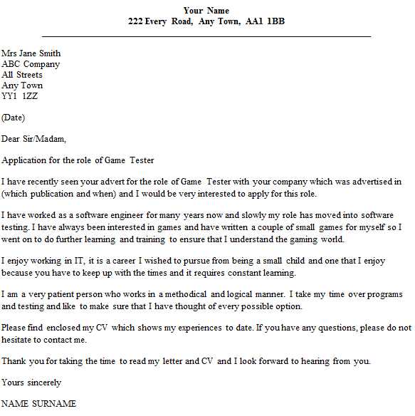 game tester cover letter example
