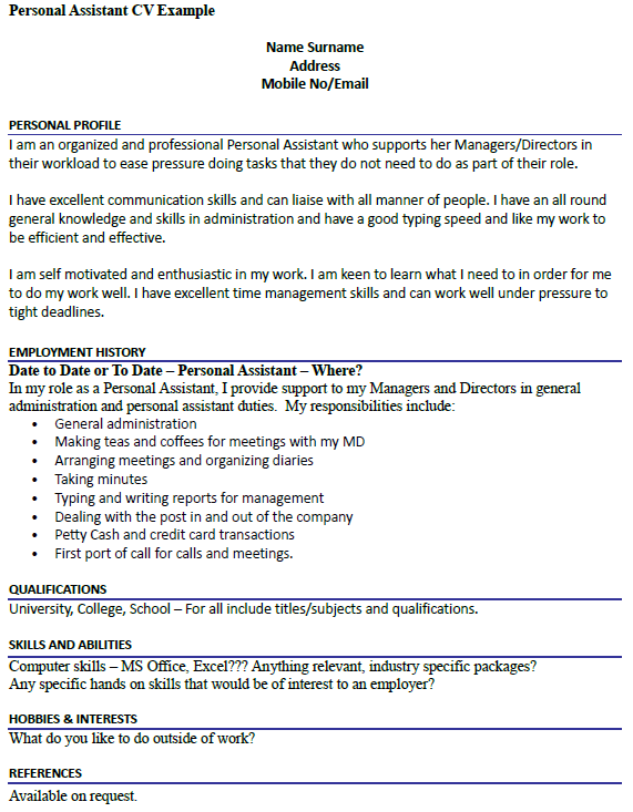 personal interests cv examples