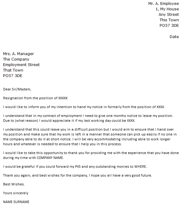 Shorter Notice Period Resignation Letter Example - icover.org.uk