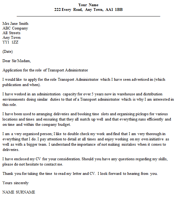 transport administrator cover letter example