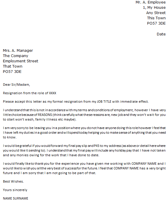 Resignation Letter With Immediate Effect Icover Org Uk
