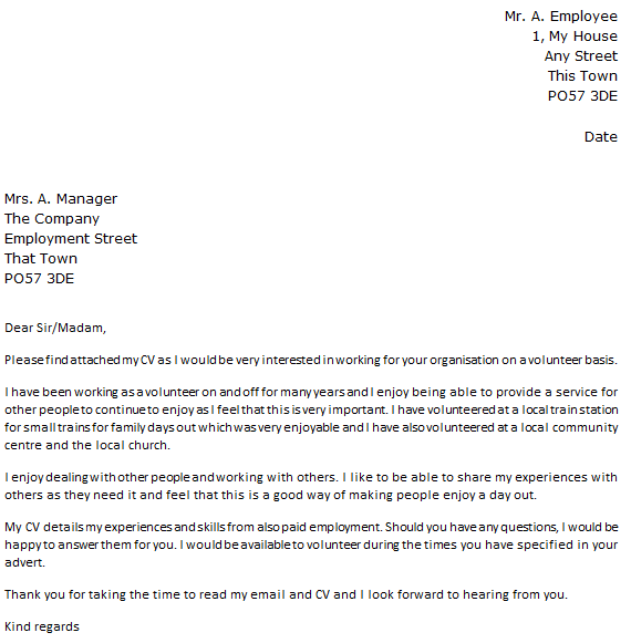 Sample email message volunteer position for Cover letter looking forward to hearing from you