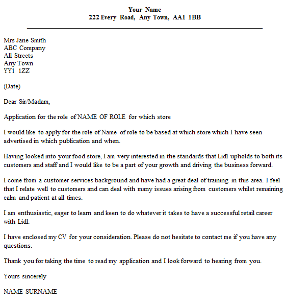 Food Retail Cover Letter