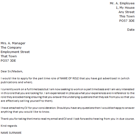 Part Time Job Cover Letter Example Icover Org Uk