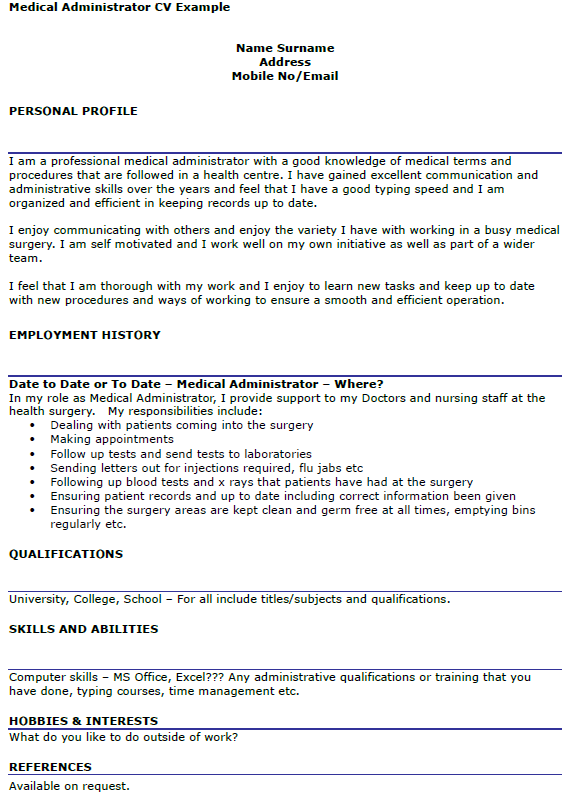 Career Opportunities With Family Care Partners Medical Administrator Cv Example Icoverorguk